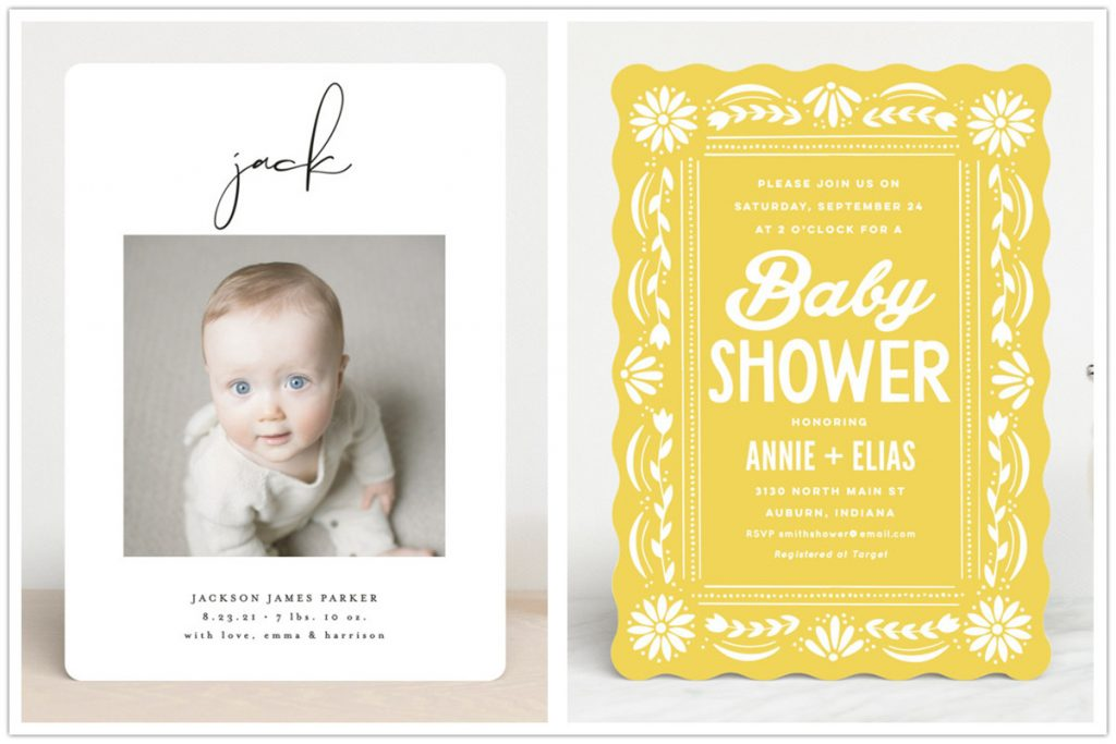 7 Cool Designs For Baby Announcements and Baby Shower Invitations